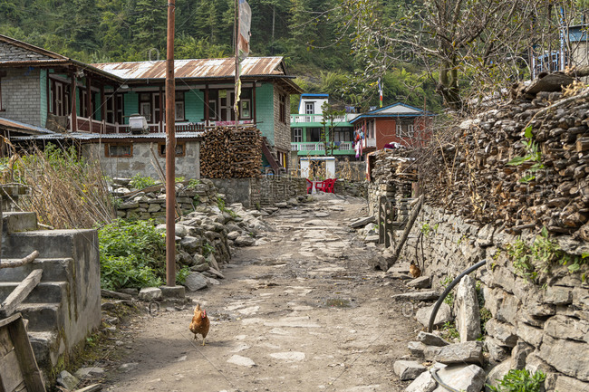 Mountain village Thonje, from the Manaslu Circuit you meet the Annapurna circuit.