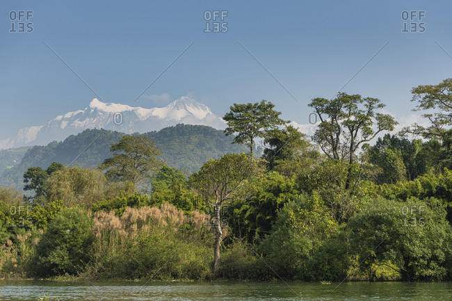 Phewa Lake in the Pokhara Valley with a view of the Annapurna Massif in Nepal