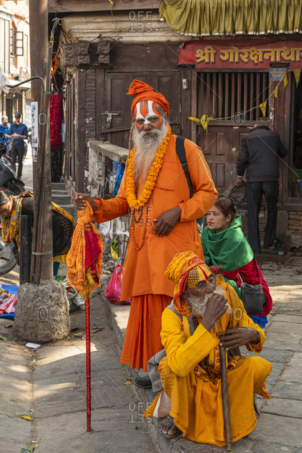 November 12, 2019: Sadhus priest in Kathmandu. They are committed to a religious, sometimes strictly ascetic life.