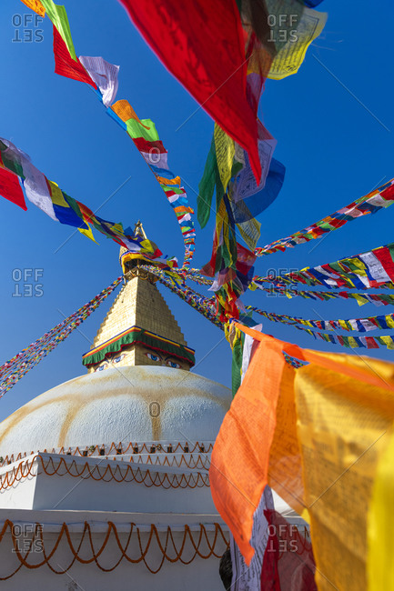 Boudhanath stupa with prayer flags in Kathmandu