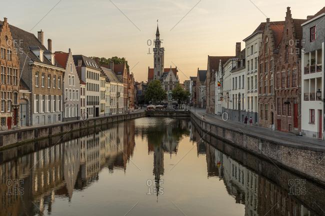 July 23, 2019: Jan van Eyckplein, Jan van Eyck Platz, Canal Siegelrei, Bruges, Flanders, Belgium