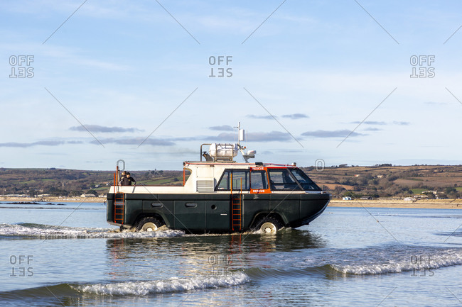December 2, 2019: Amphibious vehicle, St Michaels Mount, Marazion, Cornwall, England, UK