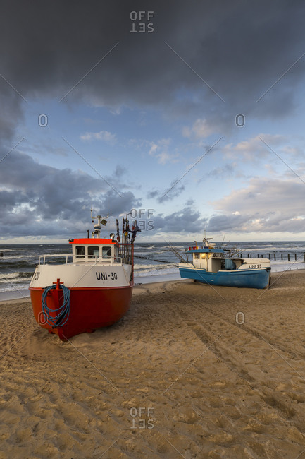 September 30, 2019: Europe, Poland, West Pomeranian Voivodeship, Uniescie, Nest, beach, boats