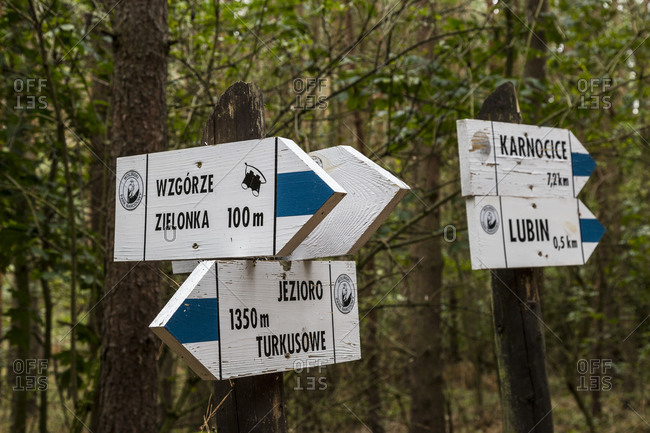 September 29, 2019: Europe, Poland, West Pomeranian Voivodeship, Wolin National Park,  signs at Turquoise Lake