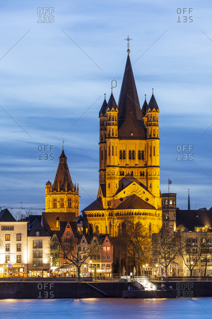 April 6, 2018: Gross St. Martin church and Rathaus tower, old town, Cologne, North Rhine-Westphalia, Germany