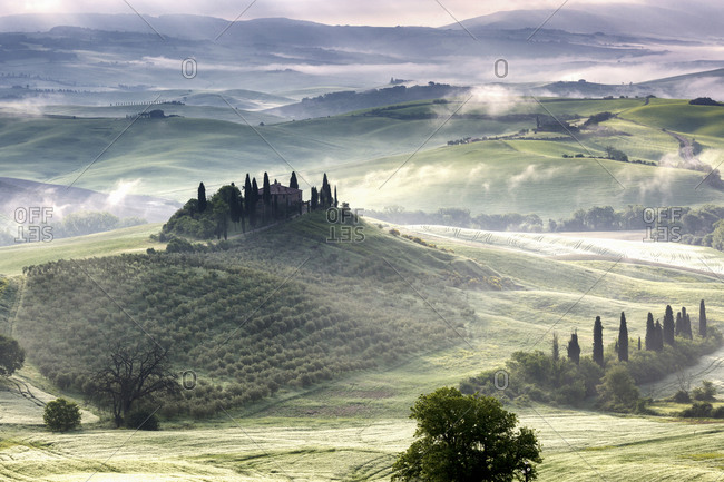 May 10, 2018: Belvedere, the landscape of the Val d'Orcia (Orciatal), Tuscany, Italy
