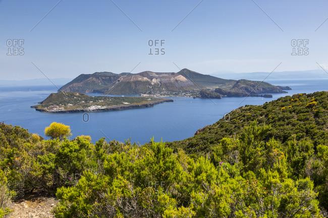 The islands of Vulcanello and Vulcano seen from Lipari, Aeolian or Aeolian Islands, Sicily, Italy