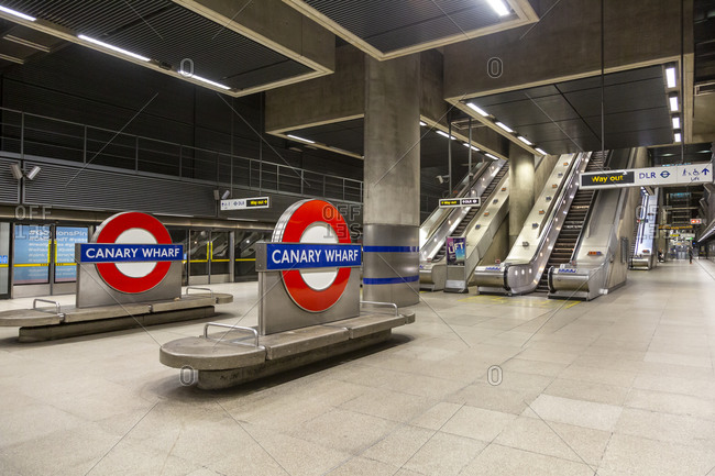 August 26, 2018: Canary Wharf Underground Station, London, United Kingdom