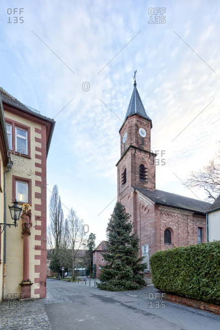 Christuskirche, Christmas tree, Christmas, Aschaffenburg, Franconia, Bavaria, Germany, Europe