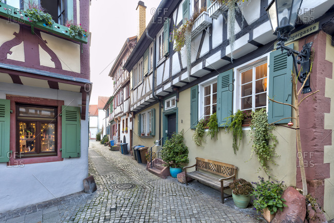 December 19, 2019: Metzgergasse, alley, timber frame style, romantic, Aschaffenburg, Franconia, Bavaria, Germany, Europe