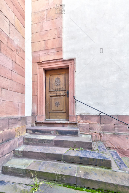Old door, entrance, church door, Aschaffenburg, Franconia, Bavaria, Germany, Europe