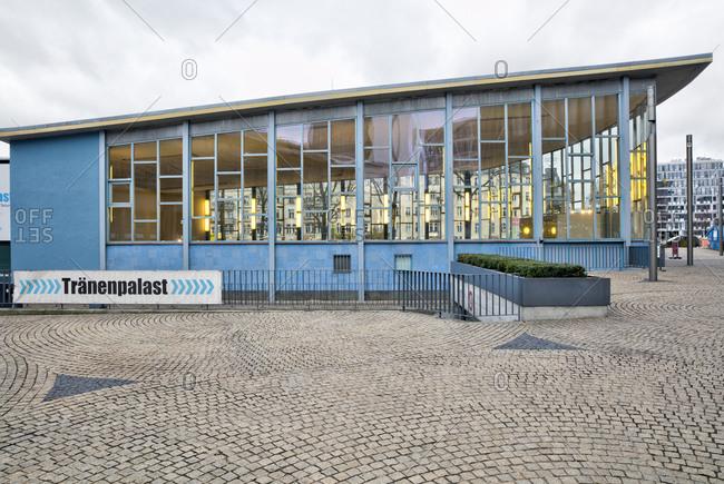 December 7, 2019: Tranenpalast, former exit hall, border crossing point, Friedrichstrasse train station, house facade, Berlin, Germany
