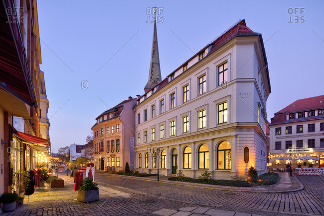 December 5, 2019: Kunsthaus Lempertz, auction house, house facade, blue hour, Nikolaiviertel, Berlin's historic center, Berlin, Germany