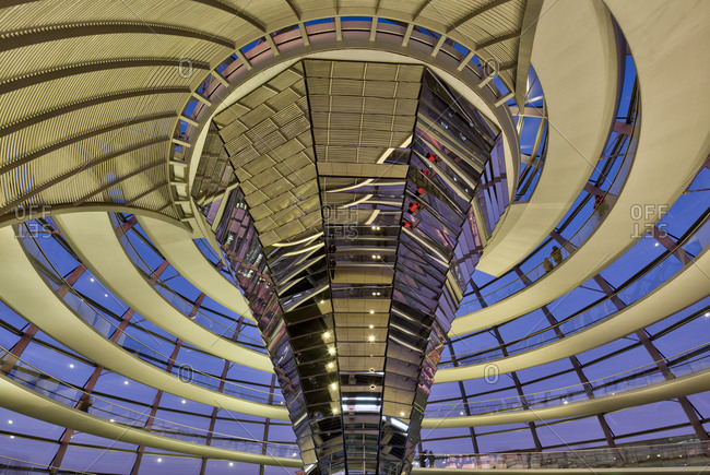 December 4, 2019: Reichstag building, dome, inside, visitor, Bundestag, government district, Berlin, Germany