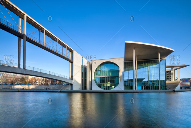 December 4, 2019: View over the Spree, Marie-Elisabeth-Luders-Haus, Berlin Wall victims memorial, Bundestag, government district, Berlin, Germany