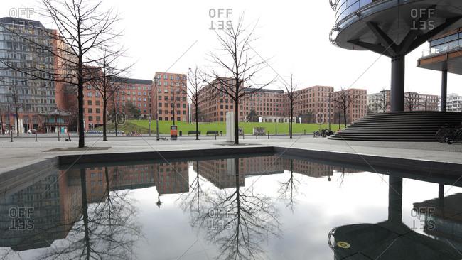 December 4, 2019: Berlin Wall, monument, Quartier Potsdamer Platz, arcades, house facades, architecture, city center, Berlin, Germany