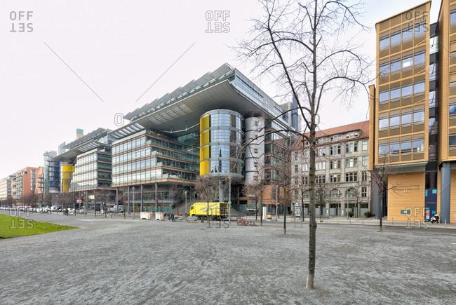 December 4, 2019: Quartier Potsdamer Platz, arcades, house facades, architecture, city center, Berlin, Germany