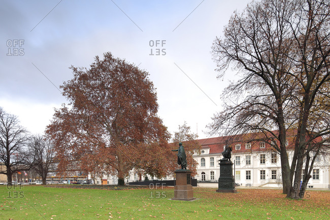 December 3, 2019: Bebelplatz, Palais Populaire, Prinzessinnenpalais, green area, garden, Berlin, Germany