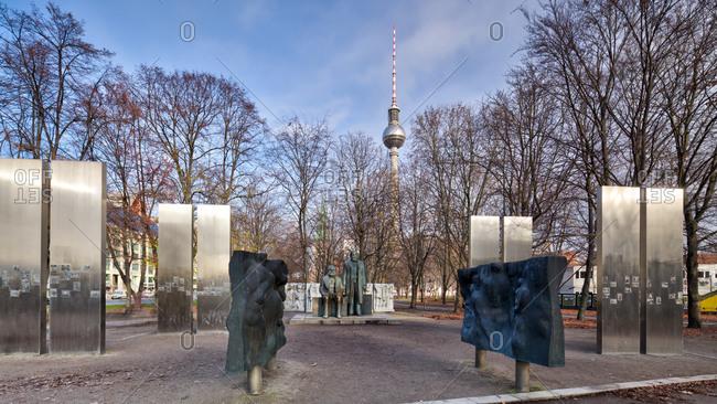 December 3, 2019: Marx and Engels statue, Marx-Engels-Forum, Alexanderplatz, Berlin Berlin's historic center, Berlin, Germany