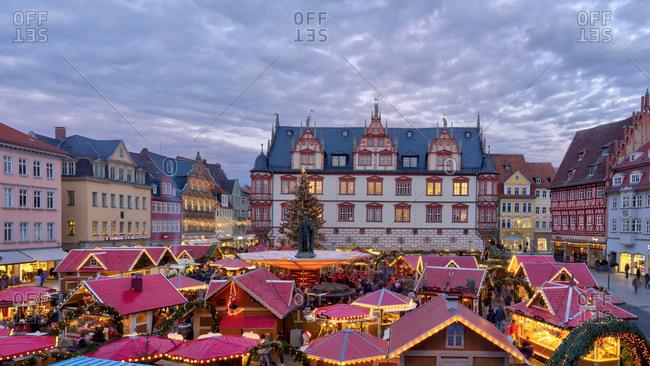 December 17, 2019: Christmas market, market square, blue hour, Christmas decoration, Coburg, Franconia, Bavaria, Germany, Europe