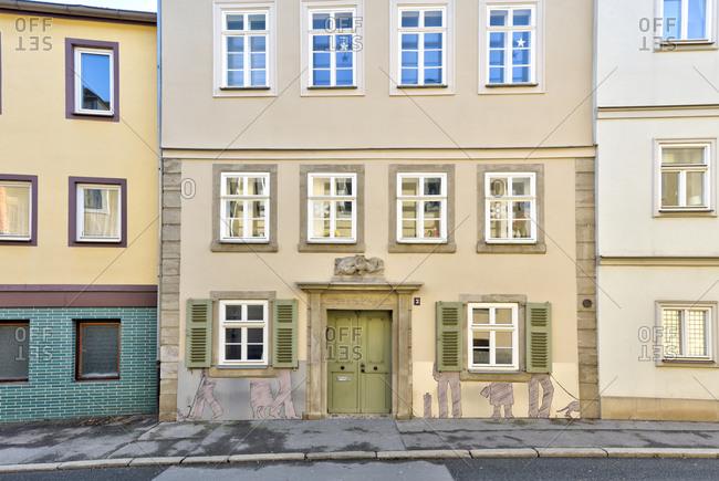 December 17, 2019: House facade, window, Coburg, Upper Franconia, Bavaria, Germany, Europe,