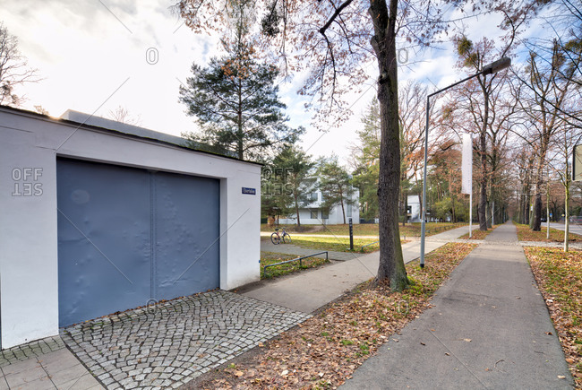 November 30, 2019: Masters' Houses, Ebertallee, Bauhaus, Dessau-Rosslau, Saxony-Anhalt, Germany, architecture, house view,