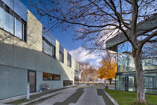 November 30, 2019: Cafeteria, Bauhaus building Dessau, Bauhaus, Dessau-Rosslau, Saxony-Anhalt, Germany, architecture, house view,