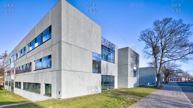 November 30, 2019: Gausshaus, Bauhaus building Dessau, Bauhaus, Dessau-Rosslau, Saxony-Anhalt, Germany, architecture, house view,
