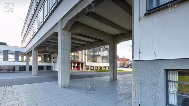 November 30, 2019: Bauhaus building Dessau, Bauhaus, Dessau-Rosslau, Saxony-Anhalt, Germany, architecture, house view,