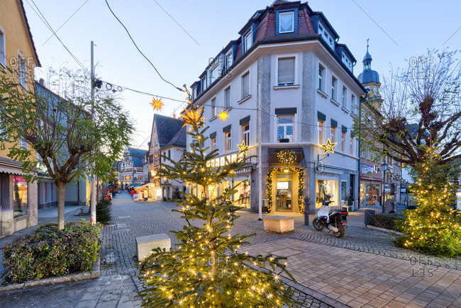 December 21, 2019: Christmas market, old town, blue hour, Christmas decoration, Kitzingen, Franconia, Bavaria, Germany, Europe