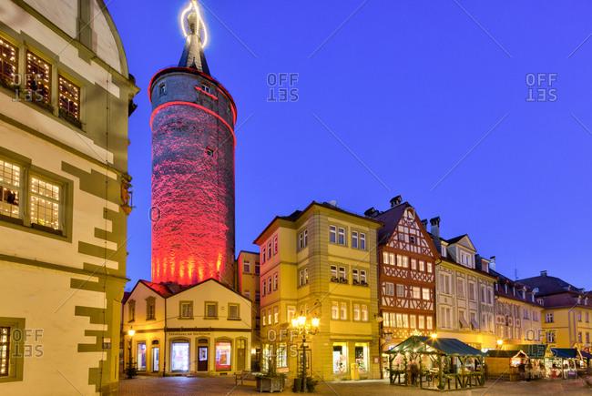 December 21, 2019: Christmas market, town hall, market tower, blue hour, Christmas decoration, Kitzingen, Franconia, Bavaria, Germany, Europe