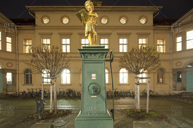 November 27, 2019: Music school, Johann Nepomuk Hummel, blue hour, Weimar, Thuringia, Germany, Europe