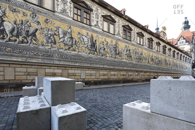 December 11, 2019: Furstenzug, Augustusstrasse, Meissen porcelain wall tile, exterior wall, stable yard, house facade, Dresden, Saxony, Germany, Europe,