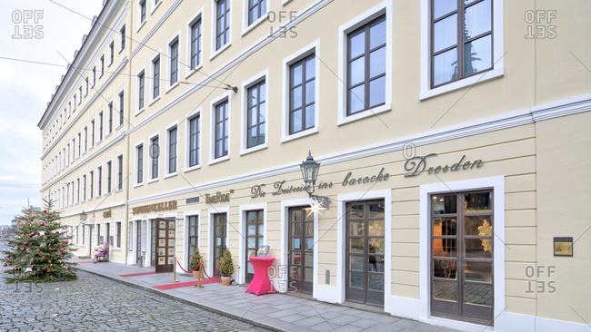 December 11, 2019: Grandhotel, Taschenbergpalais, facade, Dresden, Saxony, Germany, Europe,