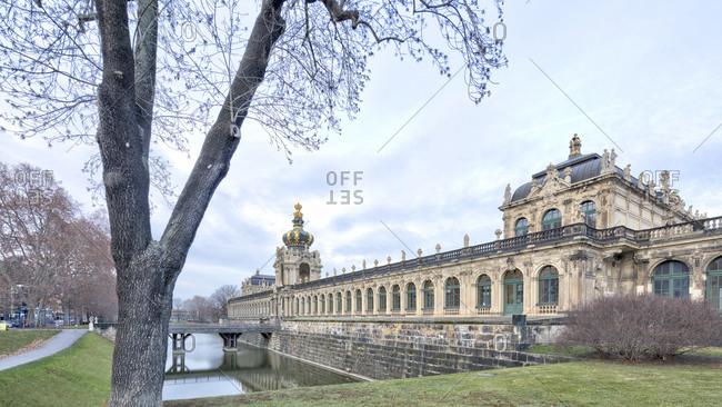 Zwingergraben, Langgalerie, Kronentor, Dresden Zwinger, facade, Dresden, Saxony, Germany, Europe,
