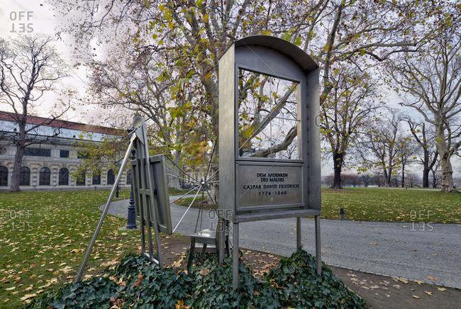 December 12, 2019: Monument, Caspar David Friedrich, Bruhlsche Terrasse, Dresden, Saxony, Germany, Europe,