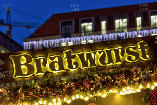 December 12, 2019: Christmas market, Strietzelmarkt, illuminated, evening, night, Dresden, Saxony, Germany, Europe,