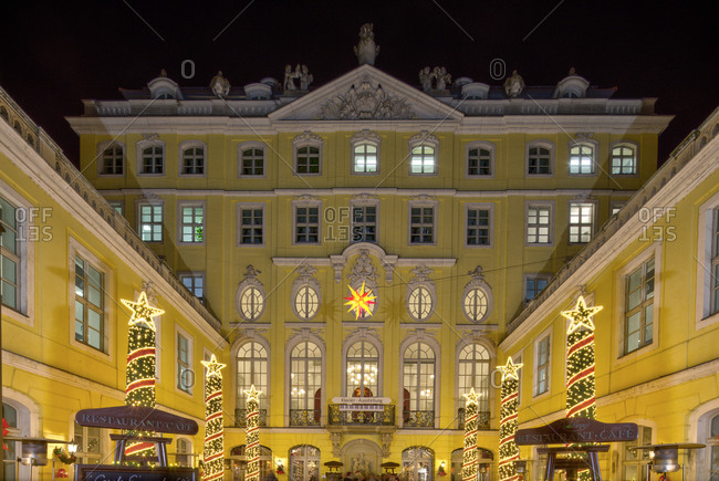 December 12, 2019: Coselpalais, restaurant & grand cafe, facade, illuminated, Dresden, Saxony, Germany, Europe,