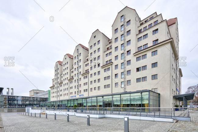 December 13, 2019: Speicher, hotel, maritime, house facade, Dresden, Saxony, Germany, Europe,