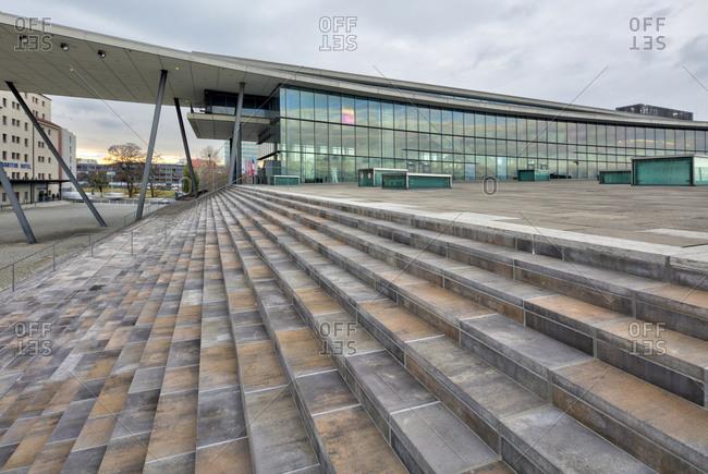 December 13, 2019: International Congress Center, house facade, Dresden, Saxony, Germany, Europe,