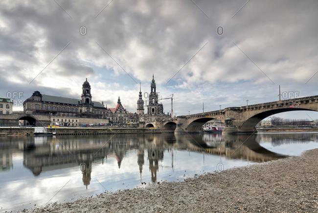 December 13, 2019: Elbpanorama, Bruhlsche Terrasse, Zwinger, Hofkirche, Augustus Bridge, Dresden, Saxony, Germany, Europe,