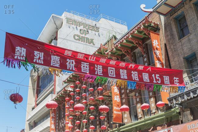 October 1, 2019: Chinatown decorations, San Francisco. California, USA