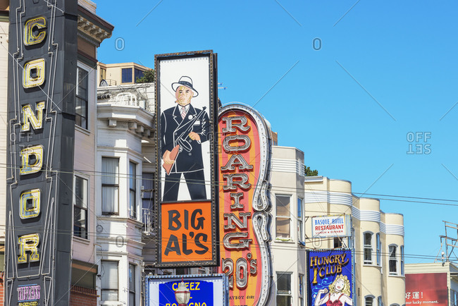 October 1, 2019: Clubs signs on buildings in North Beach district, San Francisco, California, USA