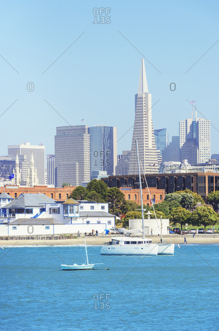 November 1, 2019: View of Financial district skyline from Maritime historic park, San Francisco, California, USA