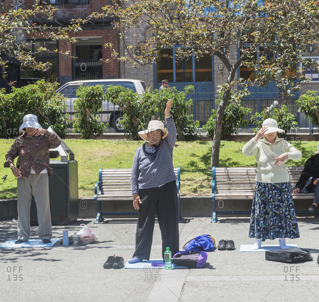 October 1, 2019: Chinese Americans practicing Tai Chi, Chinatown, San Francisco, California, USA