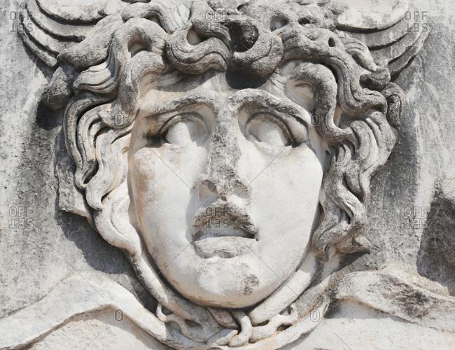 Ancient portrait stone in Apollo Temple, Didyma, Anatolia, Turkey, Asia