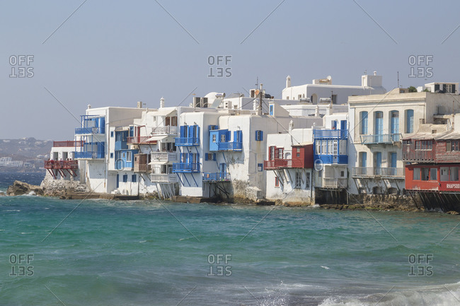June 9, 2019: Little Venice, Mykonos Town, Mykonos, Cyclades Islands, Greece