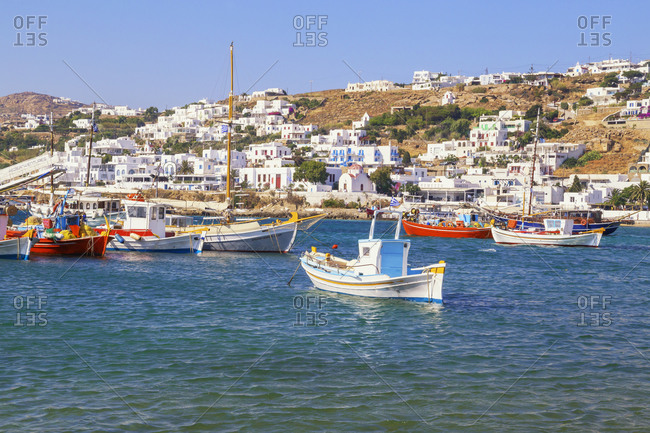 June 9, 2019: Mykonos Town old harbour, Mykonos, Cyclades Islands, Greece