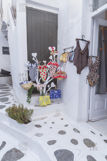 June 9, 2019: Fashionable swimming clothes on display, Mykonos Town, Mykonos, Cyclades Islands, Greece
