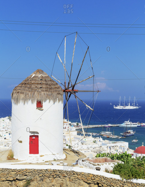 June 10, 2019: Boni's Windmill overlooking Mykonos Town, Mykonos, Cyclades Islands, Greece